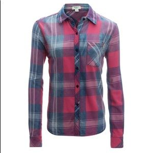 Dylan super washed indigo plaid button down shirt